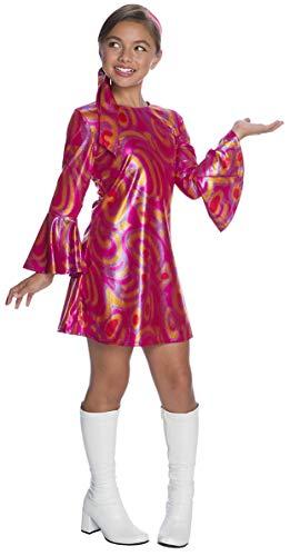 Charades Girl's Fuchsia Swirl Disco Diva Costume, as Shown, Medium