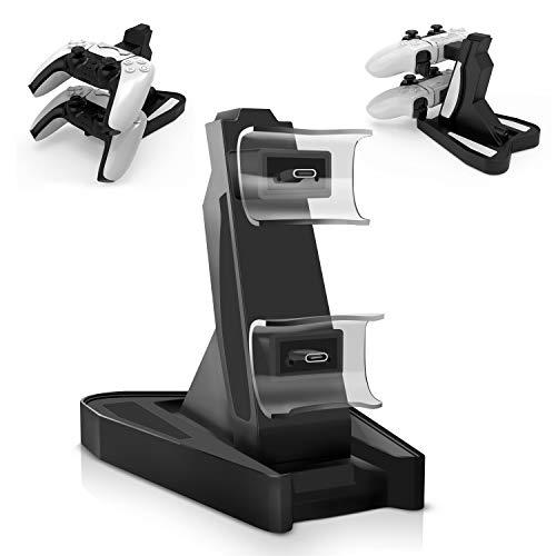 PS5コントローラー充電スタンド PS5ハンドル 充電ドック 充電スタンド デュアル充電ドック USB給電式 2台同時充電可 LED 指示ライト PS5対応 急速充電 過充電防止 ケーブル付き…