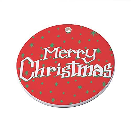 Letras alegres de Navidad tipografía del árbol de Navidad con impresión personalizada de recuerdo de cerámica para recordar la decoración familiar para el hogar interior y exterior de 3 pulgadas