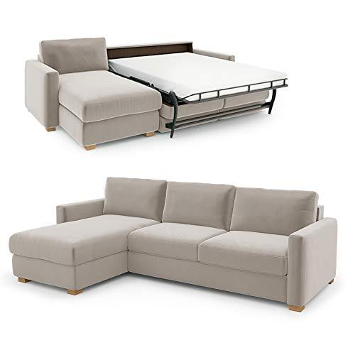 place to be. Sofá cama Weekend de 140 cm, con tumbona larga, color crema