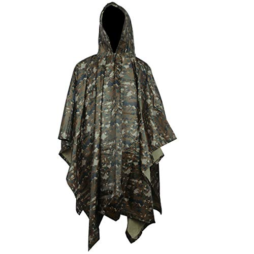 A-MORE Rain Poncho,Waterproof Raincoat with Hoods Rain Poncho for Outdoor Activities Men,Women (Digital camouflage Poncho), Large