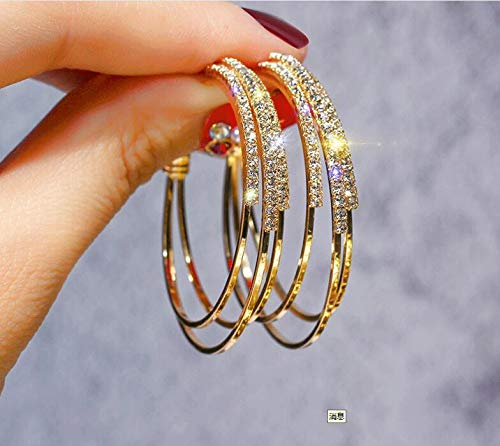 PendientesJoyas Pendientes De Diamantes Pendientes Huecos A Dorado