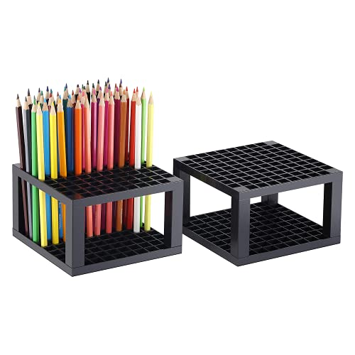 CAXXA 2 Pack 96 Hole Art Plastic Pencil & Brush Holder Desk Stand Organizer Holder for Pens, Paint Brushes, Colored Pencils, Markers (2 Pack)
