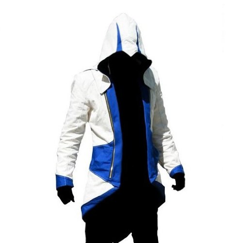 Ankin Assassin's Creed III Connor Kenway Coat Jacket Hoodie Cosplay Costume White Blue(s)