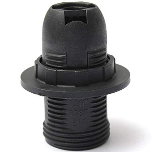 GeKLok Soporte de lámpara, Bases de lámpara de rosca externa, Práctico E14 Bombilla Soporte de lámpara, Portalámparas colgante de plástico (negro)