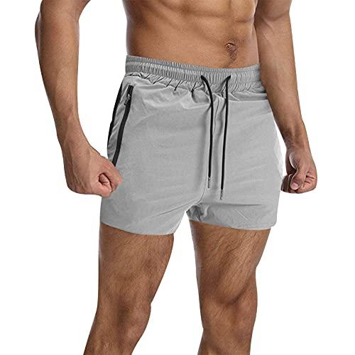 VANVENE Pantalones cortos deportivos para hombre, para correr, gimnasio, entrenamiento, rugby, con bolsillos con cremallera