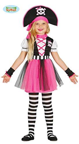Guirca pinkes Piratin Kostüm für Mädchen Piratenkostüm Kinder Piraten Pirat Seeräuberin Kostüm Gr. 110-140, Größe:134/140