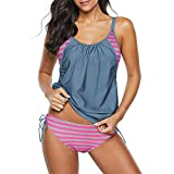 Zando Womens Swimsuits Plus Size Tummy Control Swimwear for Women Athletic Two Piece Tankini Swimsuit Push Up Swim Tops with Panty Cute Pink Grey M