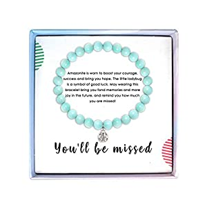 ✔ MEANING - The amazonite is worn to promote courage, hope and success. And the tiny ladybug is a cherished symbol of good luck. Wearing this perfect amazonite stone bracelet for beginning a new chapter in her life. ✔ GIFT GIVING - This meaningful an...