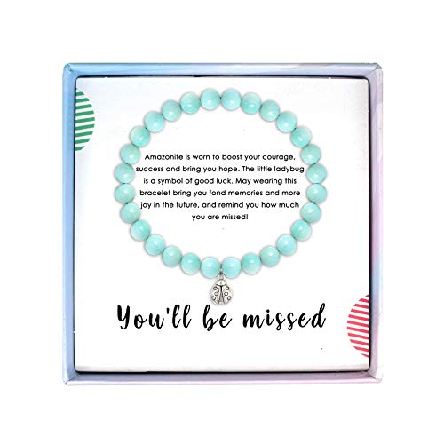 SOLINFOR Coworker Leaving Gifts for Women - Amazonite Beads Farewell Bracelet - Retirement Moving Away Goodbye Going Away New Job Good Luck Jewelry Gift Idea for Her Friends Boss
