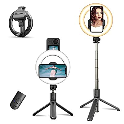 Ring Light with Tripod Stand & Phone Holder Selfie Stick Tripod, Led Camera Ringlight with Hot Shoe Adapter for Selfie, Make Up, Live Stream, Photography from PANMAX