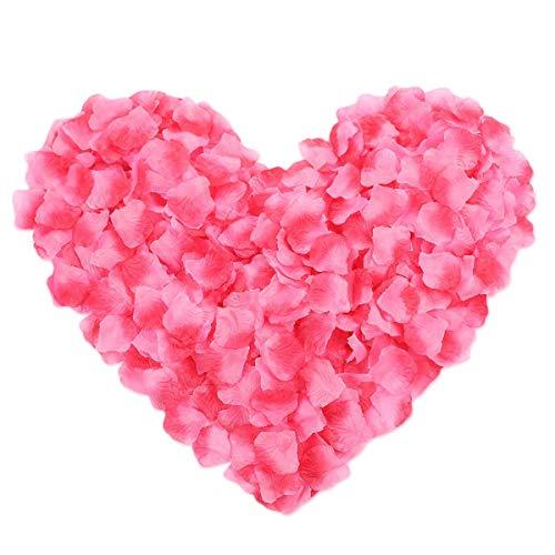 Lot de 500 pétales de rose en soie pour mariage, Saint-Valentin, décoration florale (dégradé rouge)