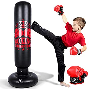 Inflatable Punching Bag for Kids and Adults 60 inch Punching Boxing Bag with Gloves Punching Bag Freestanding Bounce Back Boxing Bag Fitness Punching Bag for Karate Taekwondo Kick