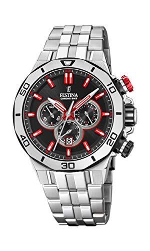 Festina Unisex Erwachsene Chronograph Quarz Uhr mit Edelstahl Armband F20448/7