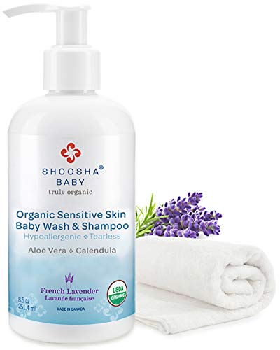 SHOOSHA Baby Sensitive Skin Body Wash & Shampoo, 8.5 oz Organic Shampoo & Baby Soap with Bonus Washcloth, Lavender Baby Wash, No Tears Baby Shampoo, Organic Body Wash & Body Soap, Newborn Essentials