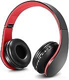 Auriculares Bluetooth para niños, Auriculares Plegable para niños con Volumen Limitado, niñas y niños, Auriculares Ajustable y Plegable con micrófono-Rojo Negro