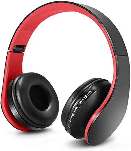 Zapig Cuffie per bambini senza fili con microfono, Cuffie senza fili Bluetooth per bambini, Cuffie per bambini over-ear stereo bluetooth pieghevoli-Rosso