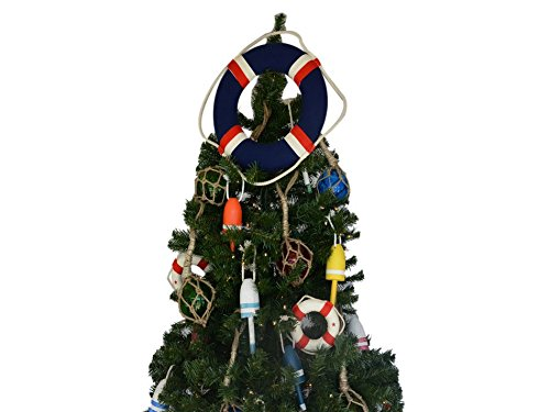 Handcrafted Model Ships Lifering15-303-XMASS Blue Jacket Lifering Christmas Tree Topper Decoration