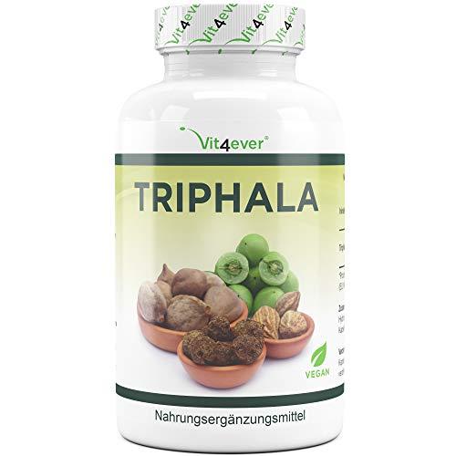 Vit4ever® Triphala 240 Kapseln mit je 750 mg - 4 Monatsvorrat - Laborgeprüft - Hochdosiert - Vegan - Triphala Pulver aus Haritaki, Amalaki & Bibhitaki - Original Ayurveda Dreifrucht