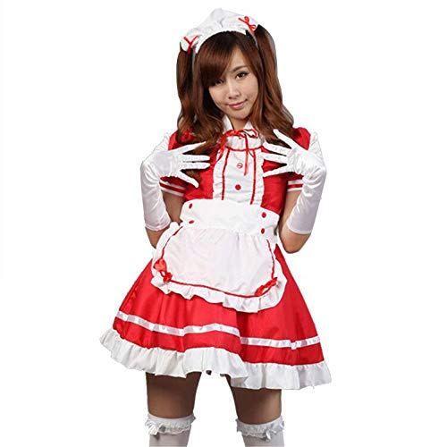 fjnannan Women Anime Maid Dress Adult French Apron Fancy Cosplay Short Sleeve Outfit Red