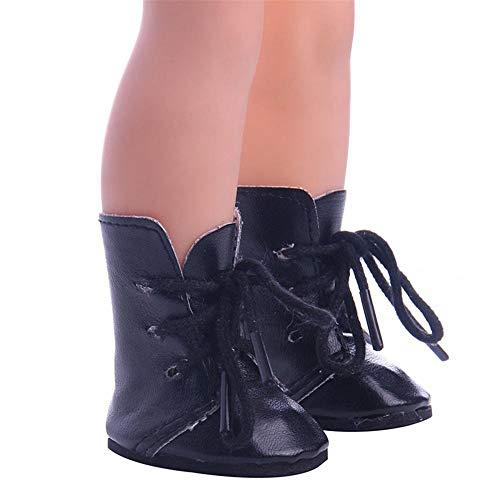 Aeromdale Zapatos de muñeca con cordones Botas All-Match 5cm Zapatos para muñecas BJD 14.5 pulgadas 1/6 32-34 Cm - Negro - 1 par