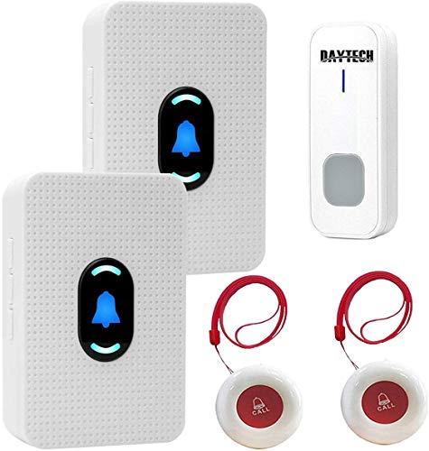Drahtloses Pager-Alarmsystem für ältere und behinderte Pflegekräfte, Hausrufsystem mit 2 Empfängern und 2 wasserdichten Sendern sowie 1 Türklingel