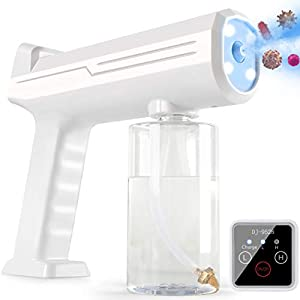 MITO Disinfectant Fogger, Rechargeable Nano Spray Disinfectant Gun with Touch Screen & Blue Light, Portable Handheld Atomizer Steam Gun Sprayer for Home Office Car School Garden Gift (White) by Healthy vitality