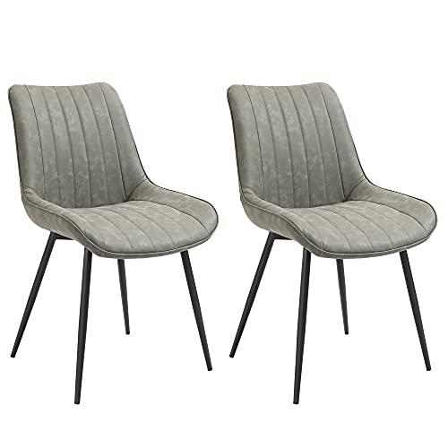HOMCOM 2-teiliges Set Esszimmerstuhl Küchenstuhl mit Rücklehne Metallbeine Retro-Stil Kunstleder Stahl Grau 53 x 62 x 88 cm