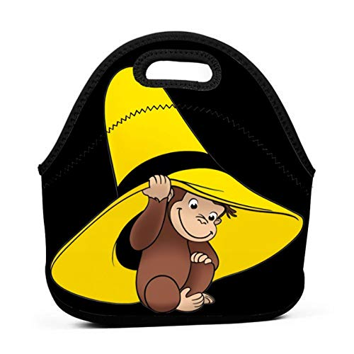 Curious George Lunch Bag Portable Tote Bento Pouch Lunchbox Bag Multifunctional Zipper Package For School Work Office Handbag