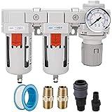 Sistema de secagem de ar NANPU 1/2 'NPT - Filtro de partículas de 5 mícron, filtro coalescente de 0,01 mícron, combinação de regulador de pressão de ar - Dreno semi-automático, tigela de poli com medidor de metal