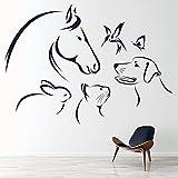 Stickers Muraux 79X57cm chien Chat Cheval Papillon Oiseau Lapin Animaux Sticker Mural Pépinière Vinyle Autocollants Papier Peint Chambre Décor Enfants Chambre