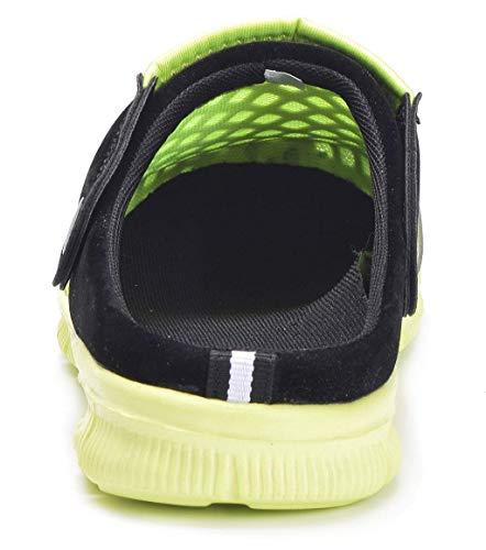 Unisex Hombres Mujeres Zuecos Zapatillas de Playa Respirable Malla Ahueca hacia Fuera Las Sandalias Zapatos Vernano - Negro Verde, 45 EU
