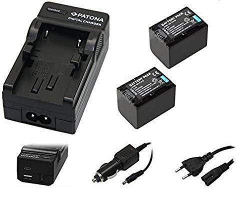 3in1-SET für den Sony HDR-CX625 Camcorder - 2 Akkus für Sony NP-FV70 + 4in1 Ladegerät (für USB, microUSB, 220V und Auto) inkl. PATONA Displaypad
