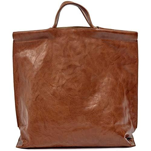 Bea Mombaers Cognac Shopper - 40 x 14,5 x h 41 cm