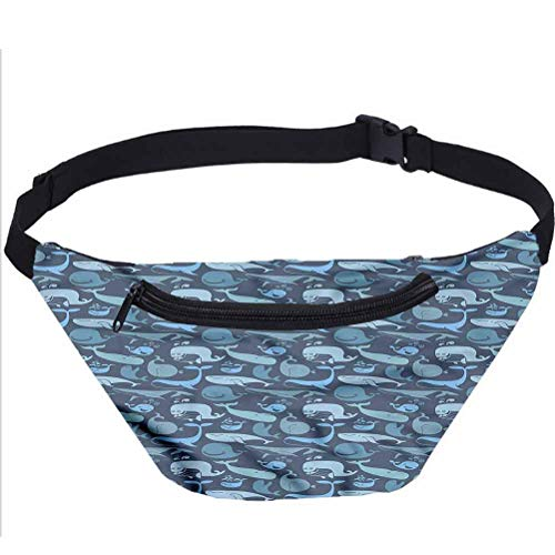 Whale Fanny Pack Bag,Happy Underwater Doodle Running Travel Sports Bags for Men Women Coworker