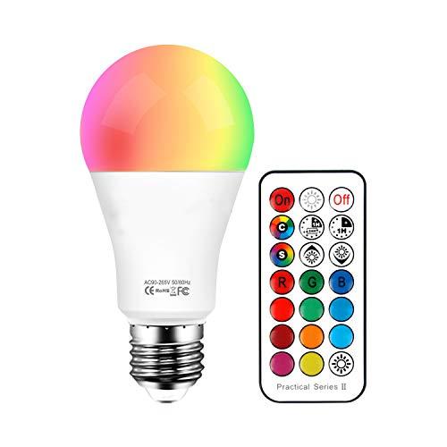 Lampadine Colorate E27 10W, LED Dimerabile RGB+ Bianco Caldo 2700K Cambiare Colore Lampadina Multicolore con Telecomando, Perfetto per Party Decorazione