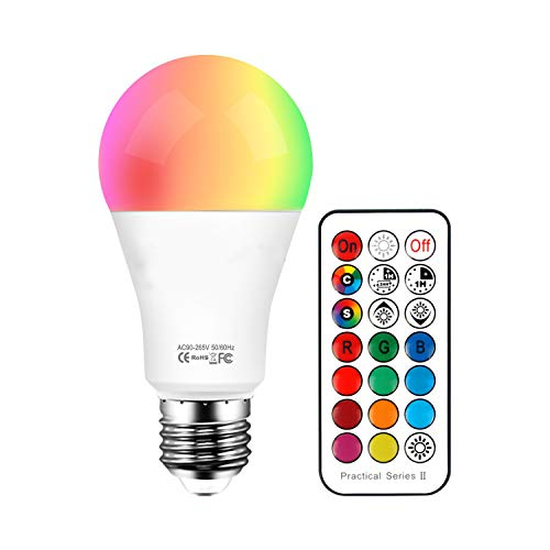 Bombillas Colores Led E27 10W, RGB + Blanco Cálido LED Bombilla Color Cambiantes Lámpara con Mando a Distancia, Regulable Cambio de Color iluminación Decoración para Casa Bar Fiesta KTV