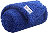 furrybaby Premium Fluffy Fleece Dog Blanket, Soft and Warm Pet Throw for Dogs & Cats (Medium (3240'), Blue Blanket)