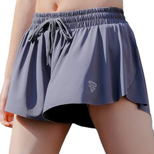 Zestion Pantaloncini Sportivi antiriflesso in Due Pezzi Finti Sciolti da Donna Pantaloncini Fitness da Corsa Traspiranti ad Asciugatura Rapida con Coulisse Regolabile X-Large