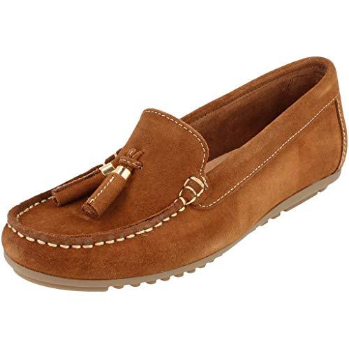 BOnova Damen Mokassin Capdapera in 4 Farben, Trendige Slipper aus hochwertigem Veloursleder - geschmeidige Loafer - hergestellt in der EU Tabak braun 38