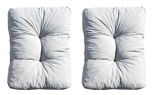 Ambientehome 2er Set Loungekissen, grau, ca 60 x 40 x 10 cm, Polsterkissen Polyrattan Lounge Ersatzkissen