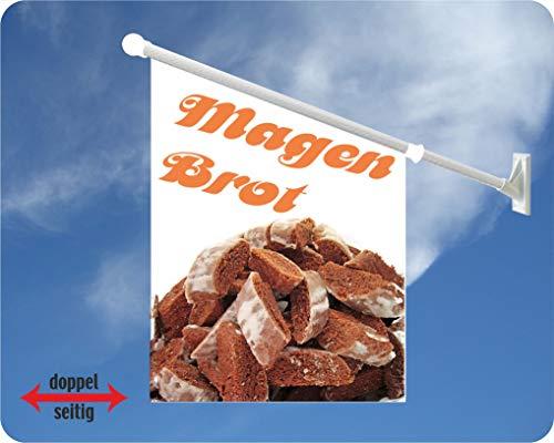 Werbeflagge, Werbefahne - Magenbrot - Ideal für Jahrmarkt, Kirmes, Stadtfest oder Buden, weiß (Magenbrot)