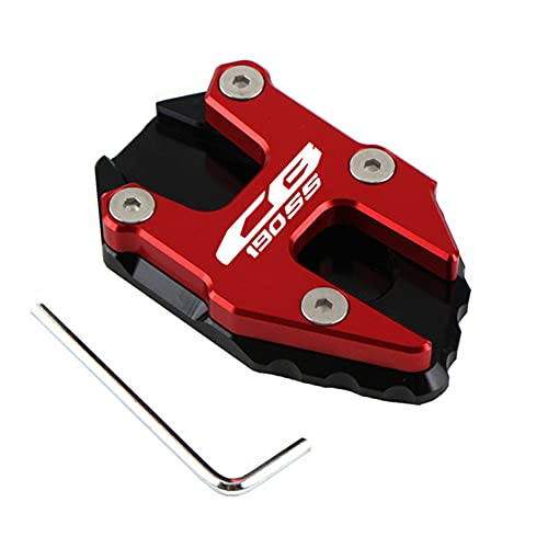 DFSD Motorcycle CNC Kickstand Foot Side Stand Extension Pad Support Plate Enlarge Stand for H-On-Da Cb190ss Road Cbf190tr Motorcycle Accessories,CB190SS red