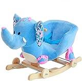 Ccgdgft Juguetes for bebés de Troya del Caballo Mecedora de los niños del bebé Mecedora de Madera Maciza de balanceo del Coche Lostgaming (Color : Blue)