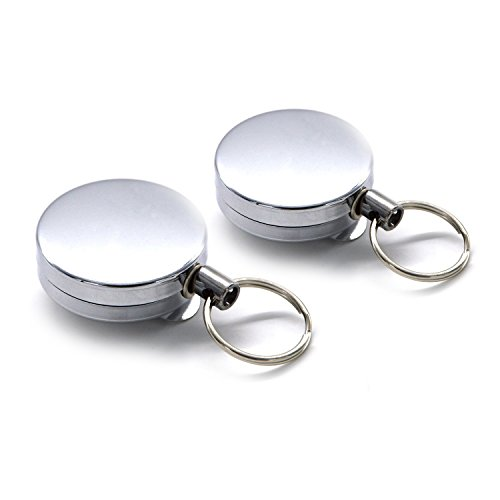 Freehawk 2Pcs Full-metal Retractable Chain Pull ID Badge Key Card with Belt Loop Clasp & Key Ring Tagging Holders with Belt Clip Badge Reelsfor Keys-ids-badges in Silver