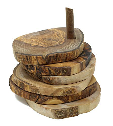 Lot de 5 dessous-de-verre ronds rustiques en bois d'olivier 9 cm sur tige en bois pour tasses et vases.