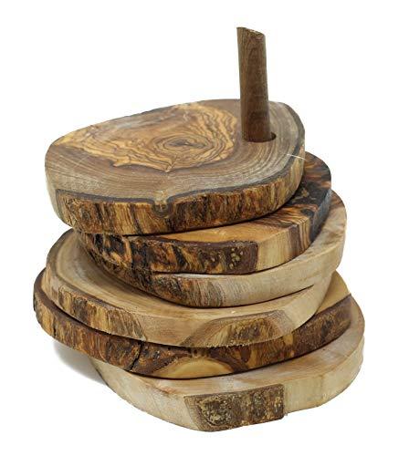 Untersetzer für Gläser Bierdeckel rund rustikal aus Olivenholz 5er Set 9 cm auf Holzstab Für Becher Tassen und Vasen