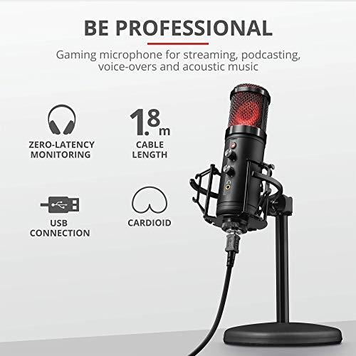 Trust GXT 256 Exxo USB Gaming Mikrofon für PC, PS4 und PS5 (mit Ständer, Kopfhöreranschluss und Kondersator, RGB LED, für Streaming, Podcast) - schwarz