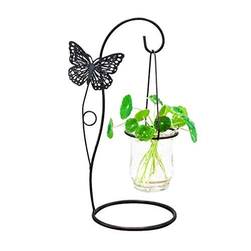 Jardinière en Verre Hydroponique Vase Creative Fer Papillon Plante Terrarium Stand Maison Dortoir Balcon Décoration De Bureau pour Cour Jardin Bureau