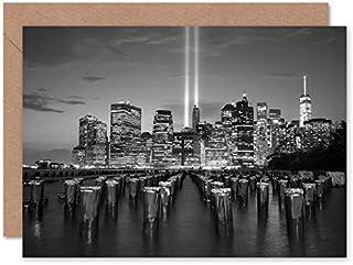 Fine Art Prints Lower Manhattan hyllning i ljus gratulationskort med kuvert inuti premiumkvalitet